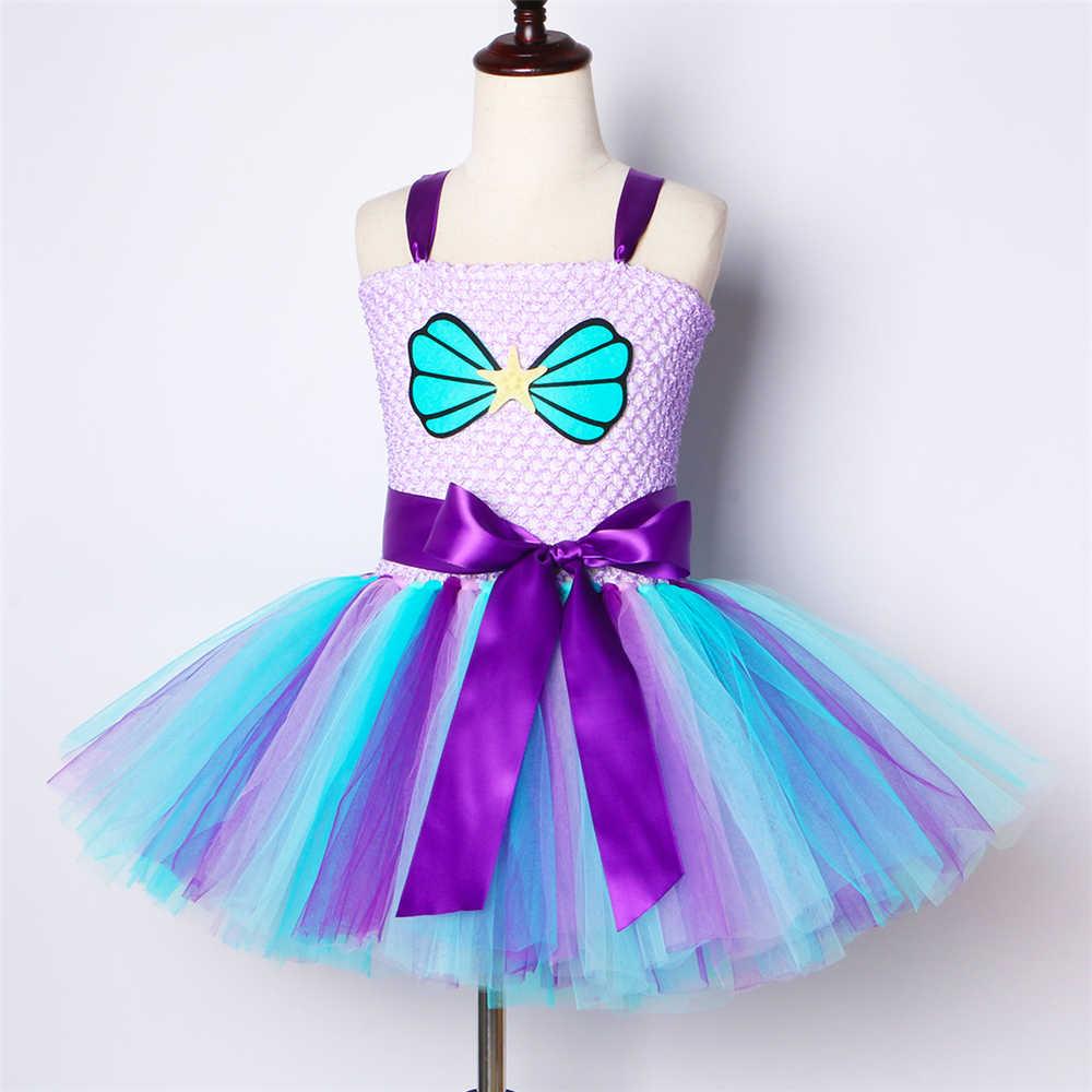 Sirena niñas tutú vestido con diadema traje bajo el mar cumpleaños tema Fiesta vestido para niños niña princesa sirena disfraz