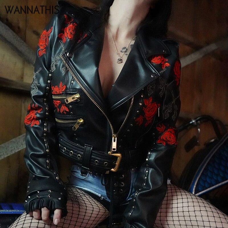 WannaThis femmes noir crâne impression Rivet PU Faux Sexy en cuir vestes dame mode broderie mat moto manteau tenue pour cycliste
