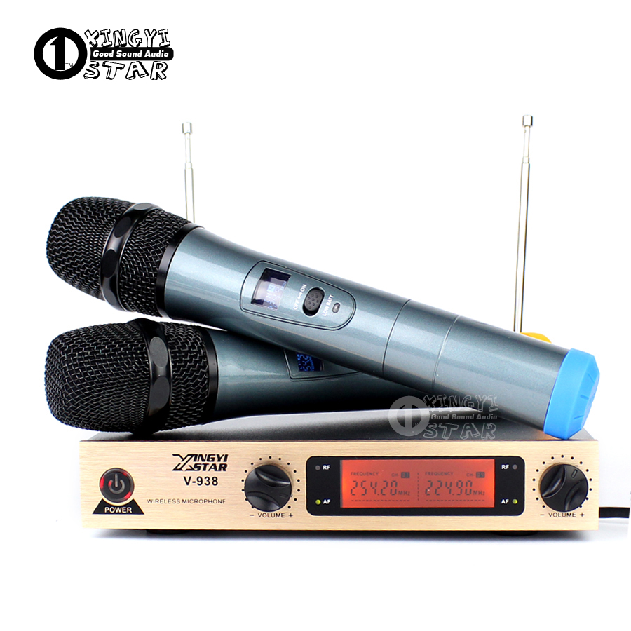 Professional Karaoke Wireless Microphone System 2 Channels LED Display Receiver Cordless Handheld Mike For Mixer Stage Computer hot sale top quality true diversity system 2 antenna for stage em2050 skm 9000 skm9000 wireless microphone system 2 performan