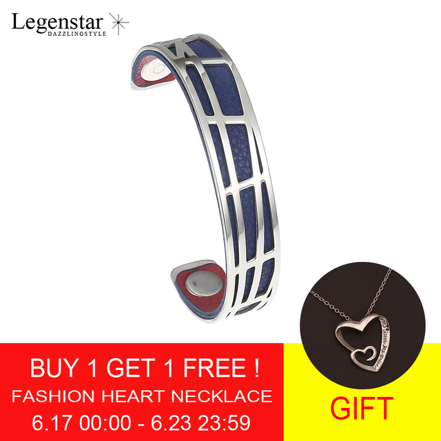 Legenstar Pyramid Bangles Stainless Steel Bracelet Femme Interchangeable Reversible Leather Cuff Bangle for Women 3 Colors