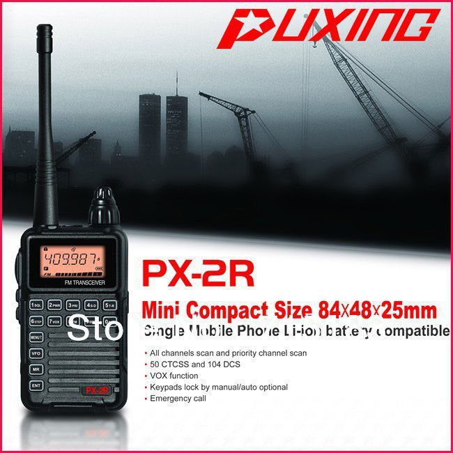 Updated Version Puxing PX-2R UHF400-470MHz TX & RX, And VHF136-174MHz RX FM Walkie Talkie With Keypad LCD For Security,hotel,ham