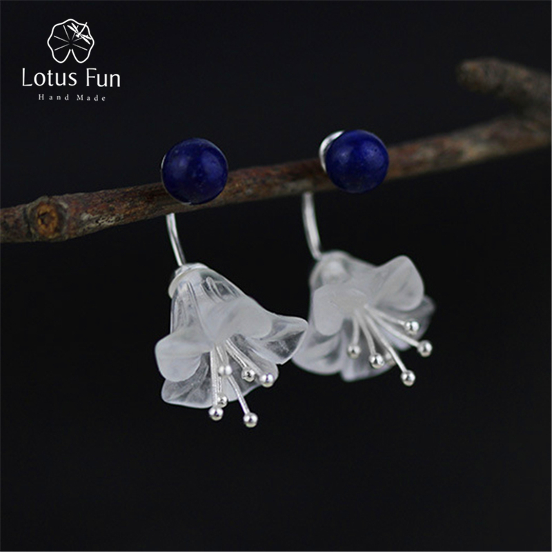 Lotus Fun Real 925 Sterling Silver Natural Crystal Creative Handmade Fine Jewelry Fresh Flower Drop Earrings for Women Brincos lotus fun real 925 sterling silver handmade fine jewelry natural crystal lily of the valley flower brooches for women brincos