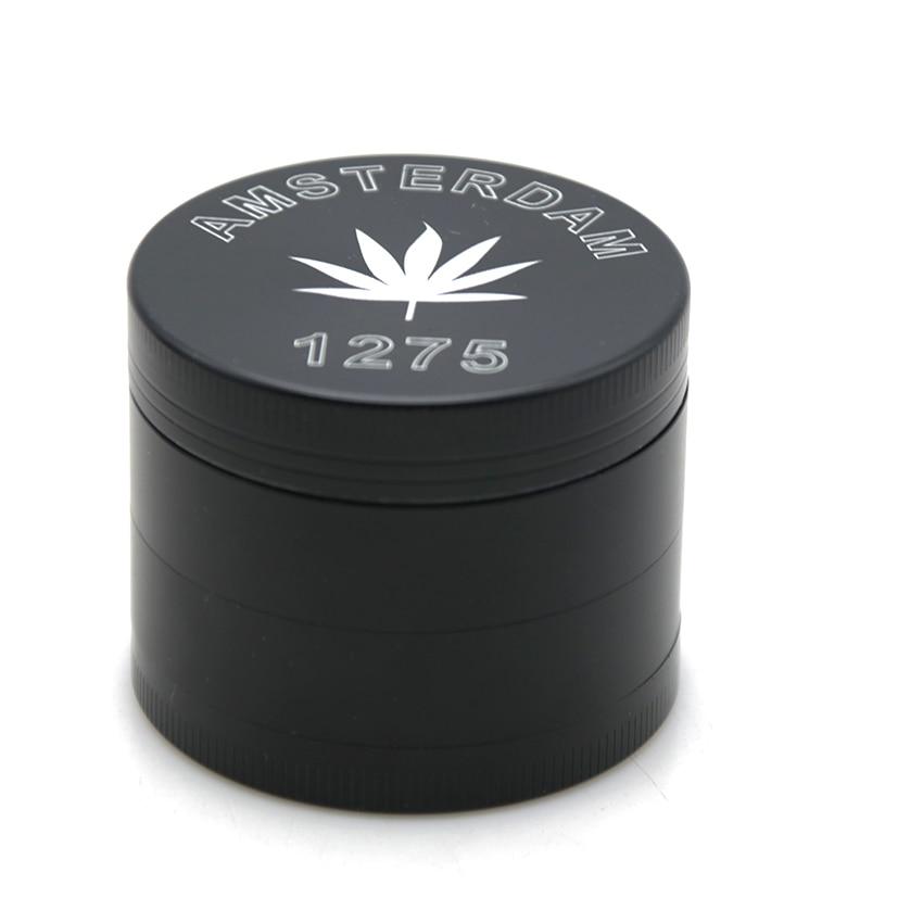 1PCS Unigue Design 50MM Herb Grinder Amsterdam Leaf Laser Engraved 4 Layers Smoking Pipe ...