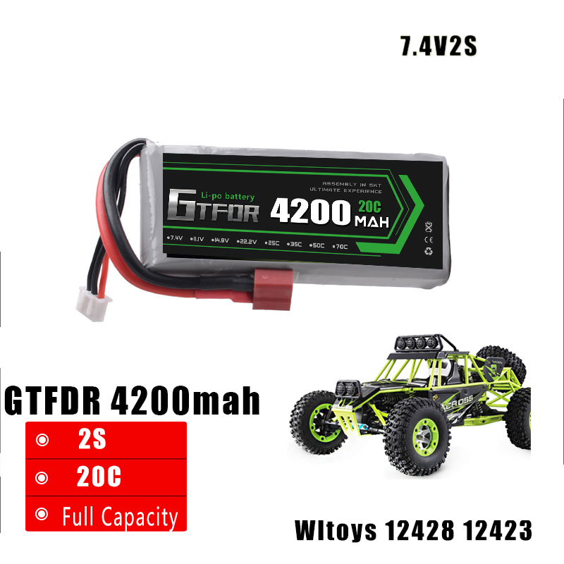 GTFDR POWER 7.4V 4200MAH 20C 2S li-po battery upgrade parts for feiyue 03 Wltoys 12428 12423 RC car RC boat front diff gear differential gear for wltoys 12428 12423 1 12 rc car spare parts