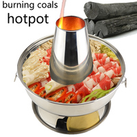 Sanqia 2.8l stainless steel hot pot chafing dish Beijing traditional charcoal hotpot Chinese antique cooker picnic cookware