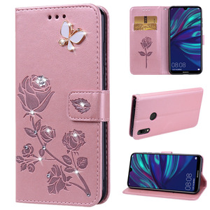 Bling Leather Flip Case for Huawei Y7 Pro 2019 Y6 Prime 2018 Honor 20 10 Lite 8C 8X 8A 9X P Smart Z Glitter Rose Phone Cover(China)