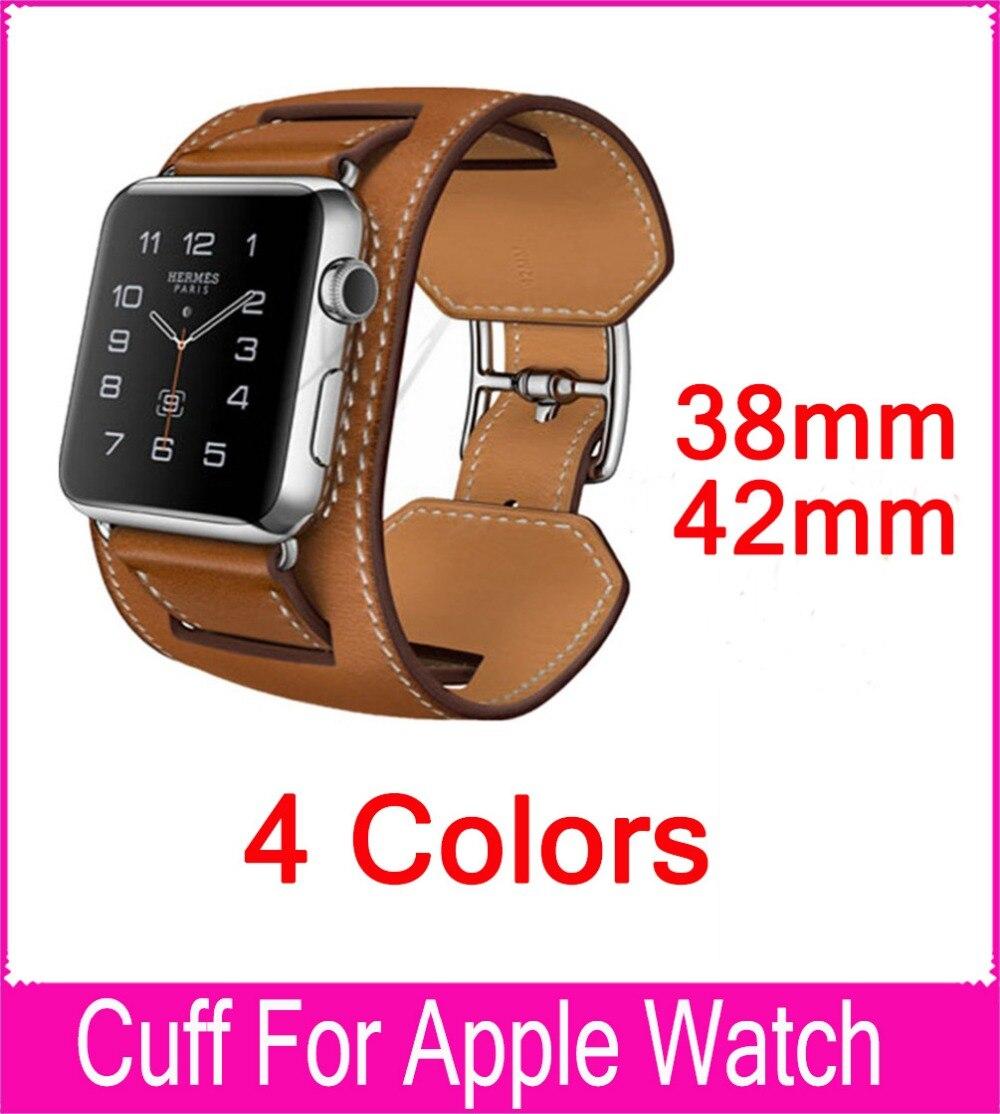 3e97dcca33 Nova Chegada 1 1 Genuína Pulseira de Couro Manguito Pulseira Relógio Banda  tiras de Couro Para A Apple Series 3 2 1 38mm 42mm