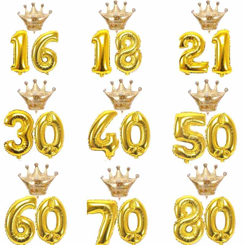 10 16 18 20 30 40 50 60 70 80 Years old kid Adult Birthday party gold crown Number Balloons set anniversary Decorations Supplies