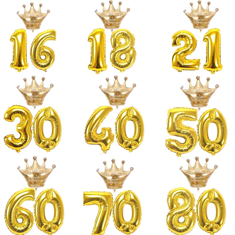 10 16 18 20 30 40 <font><b>50</b></font> 60 70 80 Years old kid Adult Birthday party gold crown Number Balloons set <font><b>anniversary</b></font> Decorations Supplies image