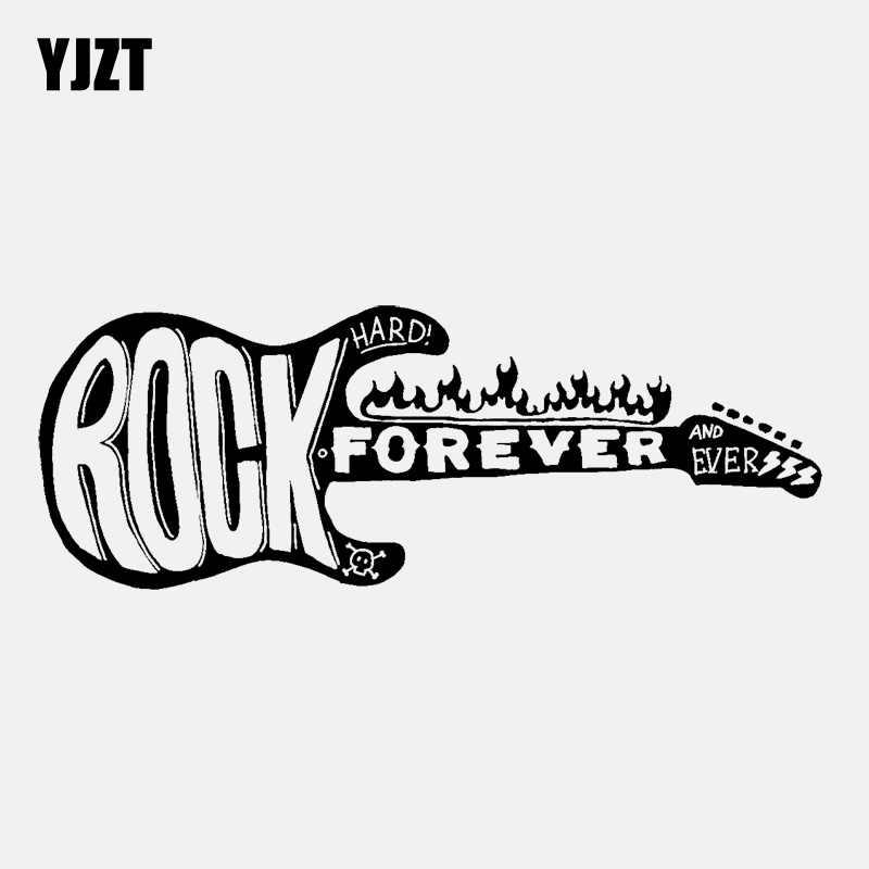 YJZT 14.7 سنتيمتر * 5.4 سنتيمتر الموسيقى روك للأبد الغيتار النار Vinly أسود/الفضة سيارة ملصقا C22-0586