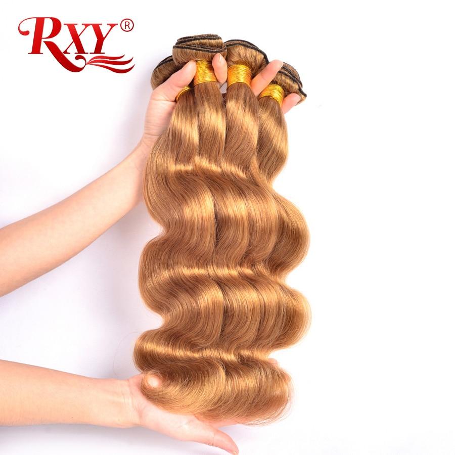 Honig Blonde Bundles Farbige 27 Gerade Menschliche Haarwebart Bundles Blonde Peruanische Haar Verlängerung Glänzende Stern Dicke Schuss Nonremy Haarverlängerung Und Perücken