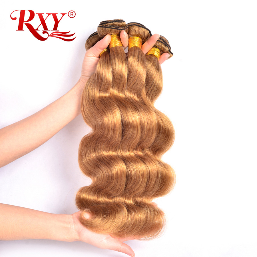 RXY Honung Blonde Brazilian Hair Weave Bundlar Kroppsvåg 1/3 / 4pcs # 27 Färg 100% Human Hair Bundles NonRemy Hair Weaves Extension