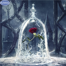 Flower rose beauty and the Beast,Diamond embroidery,diamond Painting rhinestone 3D picture cross stitch pattern Home decoration