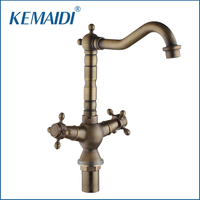 KEMAIDI High Quality Bathroom Sink Mixer Deck Mounted Faucet Single Hand Crane Tap Antique Brass Hot