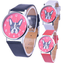 Womens Quartz Watches 1 PC Cartoon Dog Patterns Wrist Watches Faux Leather Analog Number Female Watch Brands Wholesale 40M10