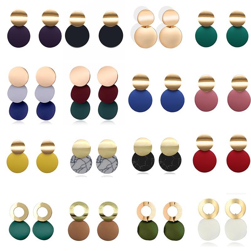 Fashion Statement Earrings Black White Gold Round Circle Geometric Earrings for Women Punk Metal Earring Trendy Jewelry Elegant