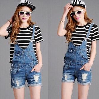 Новые женские джинсы джинсовые комбинезоны для женщин летние повседневные шорты плюс размер 8xl - Цвет: Синий