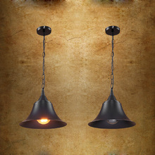 American Industrial Loft Black Metal hat Chain Pendant Lamp Creative Bar Counter Kitchen Dining Room Restaurant