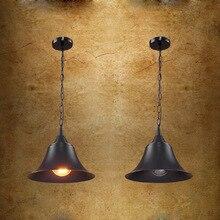 Americana Loft Industrial negro sombrero de Metal cadena lámpara colgante creativo barra de Bar de cocina comedor restaurante de la lámpara pendiente