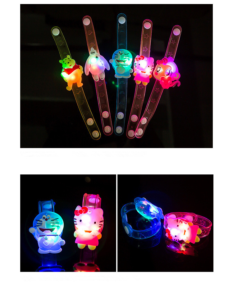 12pcs/lot cartoon luminous toy bracelet colorful rgb light up toys for holiday party concert,minions/butterfly/bear party toy