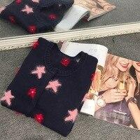 2017 Spring New Women S Cardigan Sweater Rabbit Velvet Collage Star Sweater Fashion Cardigan Sweater Woman