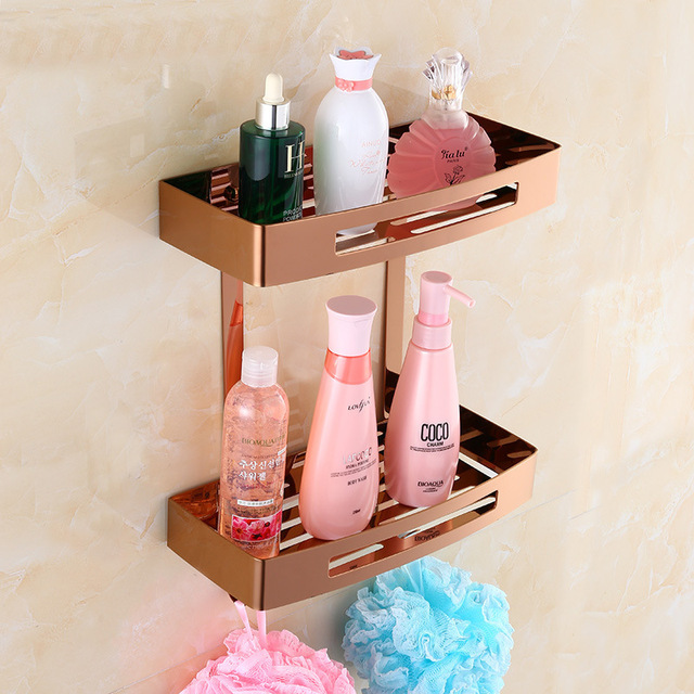 Rose Gold Bathroom Shelf Stainless Steel Double Layer Corner Wall Mount Showeroom Accessories