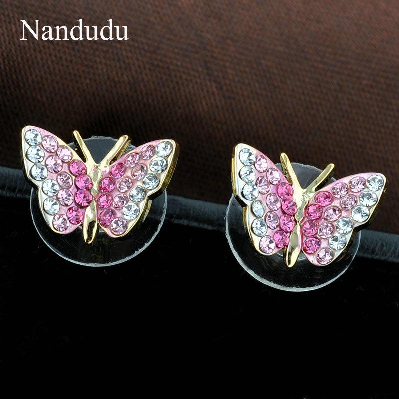 Nandudu Rose Gold Farbe Rosa Kristall Schmetterling Modeschmuck Set - Modeschmuck - Foto 3