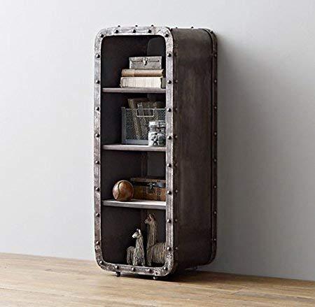 4 Shelf Open Bookcase,Industrial Furniture Metal Storage Locker,4-Tier Shelf Organizer,Small Cabinet,Black