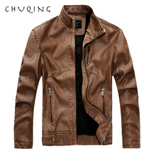 CHUQING Mens Leather Autumn and Winter Plus Velvet Motorcycle Jacket Fashion