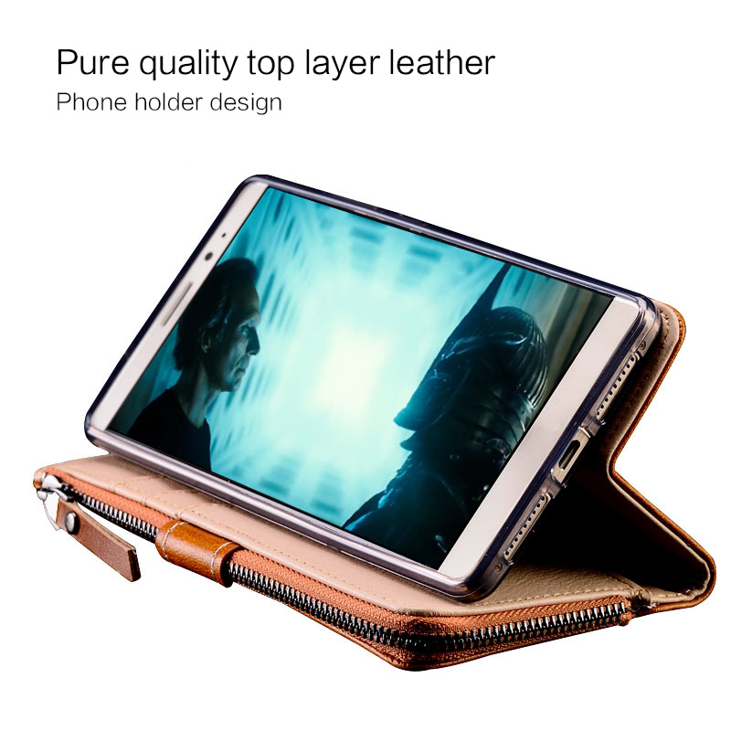 Купить с кэшбэком Genuine Leather Case For Xiaomi Redmi note 7 note 5 4x 6a 7a Multi-functional Zipper Wallet for Xiaomi mi a3 a2 a1 lite case