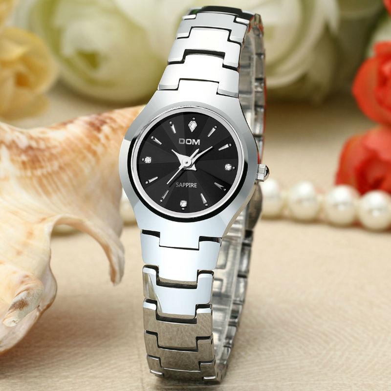 ФОТО DOM Womens Watches Top Brand  Tungsten Steel Watch Fashion Quartz Wristwatches Luxury Brand  For Women Business Watche w-398