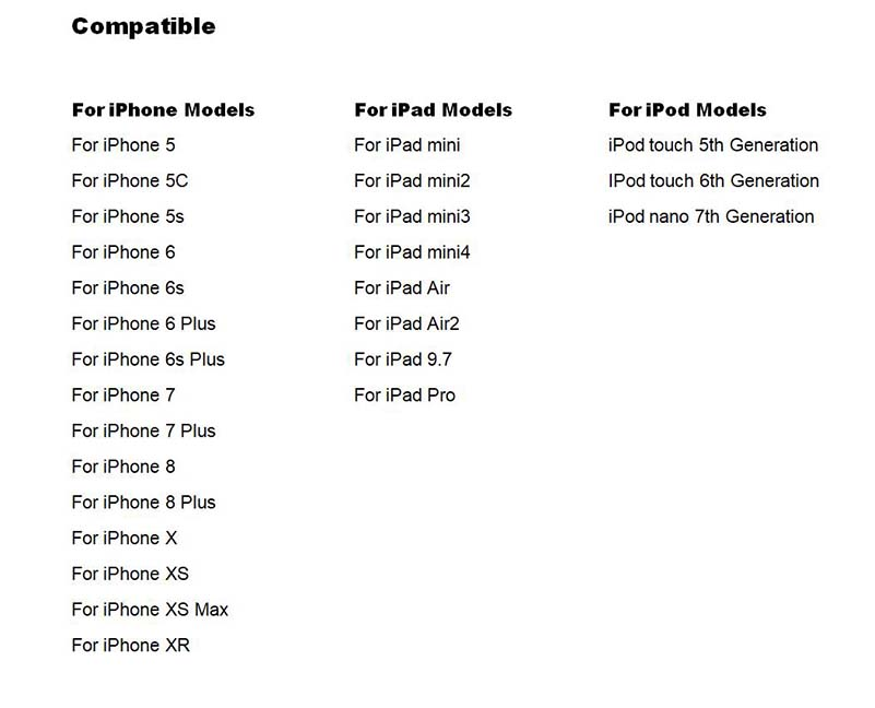 Urządzenie jest kompatybilne z iPhonem 5 lub nowszym, z iPadem mini lub nowszym, z iPodami piątej generacji lub nowszymi.