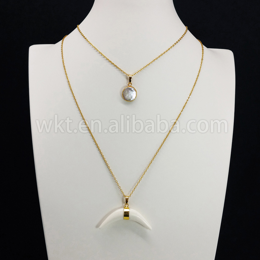 WT N667 Long freshwater pearl charm necklace 1 2inch Arrowhead gold color pendant necklace natural stone