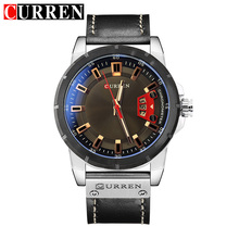 CURREN Blue Glass Black Genuine Leather Belt Calendar Display Men Military Watches Top Brand Luxury Quartz Wristwatch Male Clock