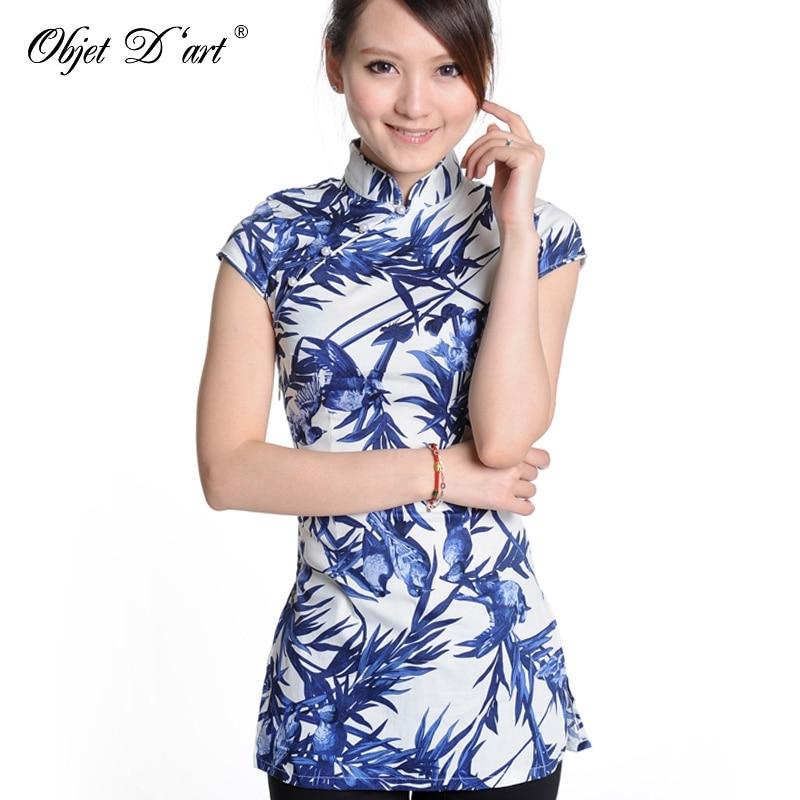 70b397f3b Wholesale 2017 Popular Printing Chinese Traditional Cheongsam Top Handmade  Women's Cotton Qipao Shirt Classical Blouse Cheongsam