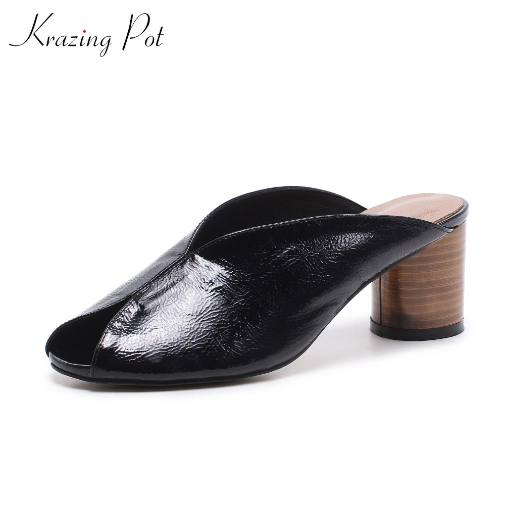 Krazing pot hot new arrival cow leather summer peep toe shoes slip on med heels vocation mules shallow round toe women pumps L90