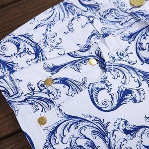 Image 4 - Sokotoo גברים של אופנה כחול ולבן פורצלן דפוס הדפסת ג ינס Slim למתוח ינס מכנסי עיפרון ארוך מכנסיים