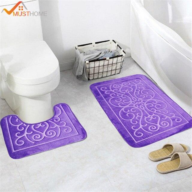 2 PZ Modello 3D Tappetini Da Bagno e Toilette Set Antiscivolo Bagno Stuoia/Coper
