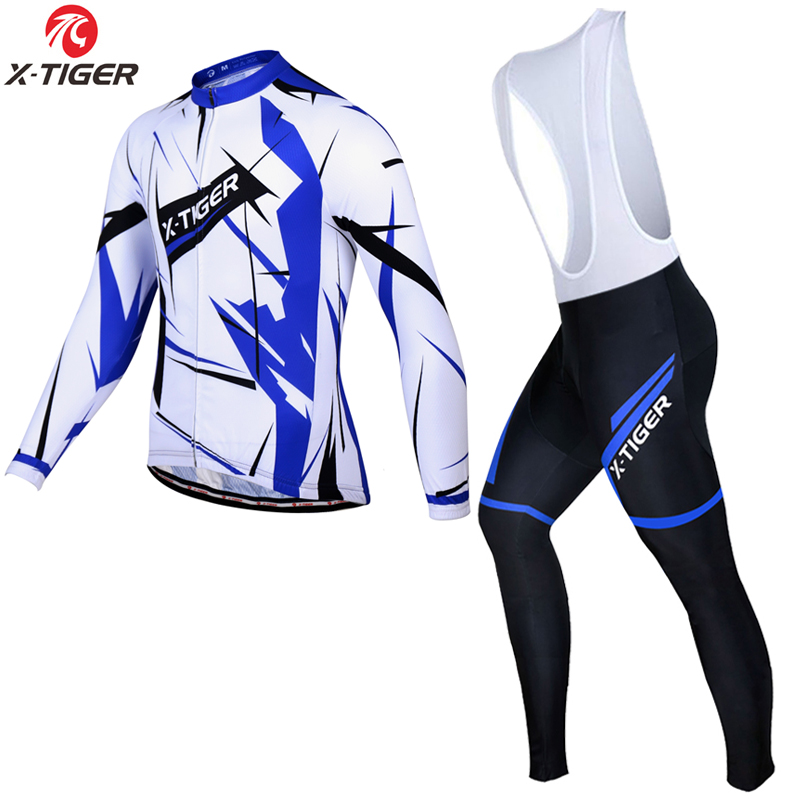 ФОТО X-Tiger 2017 Pro Long Sleeve Spring Cycling Set MTB Bike Clothing Uniform Racing Bicycle Clothes Wear Maillot Ropa Ciclismo