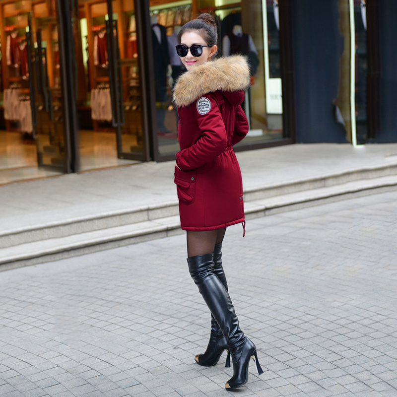 Adjustable Waist Women Parkas Big Pockets Fur Hooded Long Coats Female Outwear Cotton Warm Winter Ladies Jackets Coat MDEW541 13
