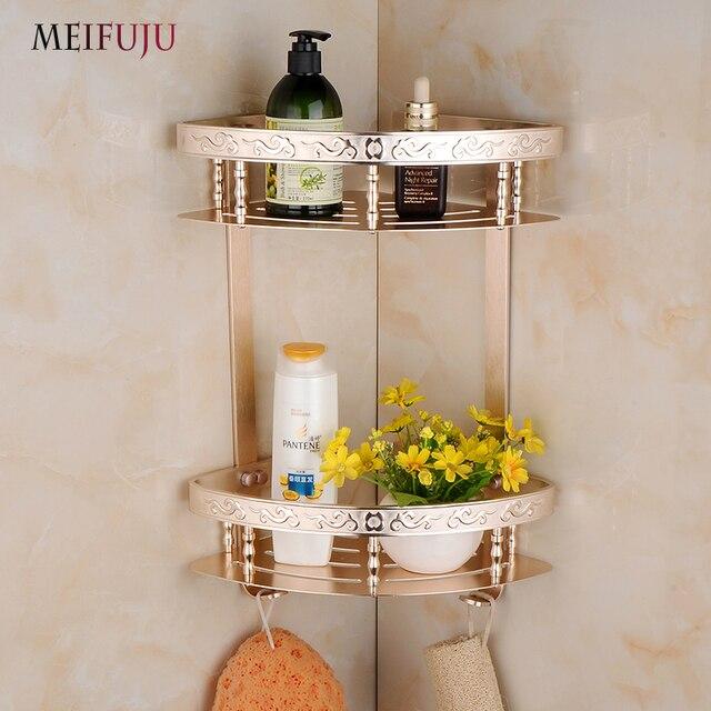 MEIFUJU Aluminum Bathroom Shelves Shampoo Soap Cosmetic Shelf With Hooks  Bathroom Accessories Shelf Basket Holder Double