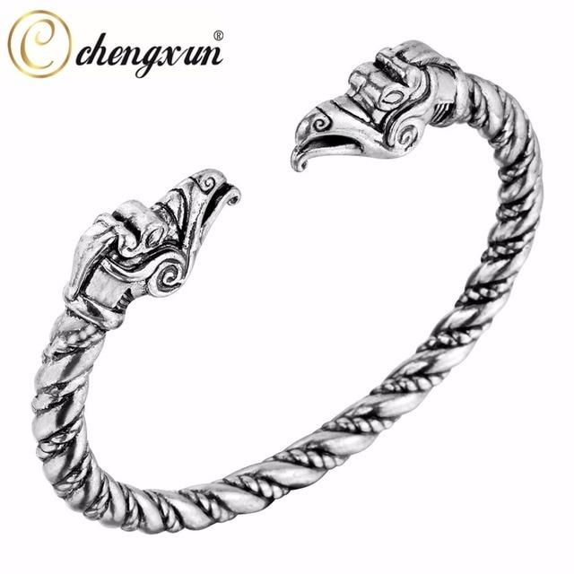 CHENGXUN Dragon Bangle Wire Cable Chain Men\'s Punk Wristband Cuff ...