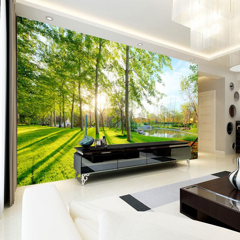 Living Room 3d Wallpaper aliexpress : buy nature landscape sunshine forest wall mural