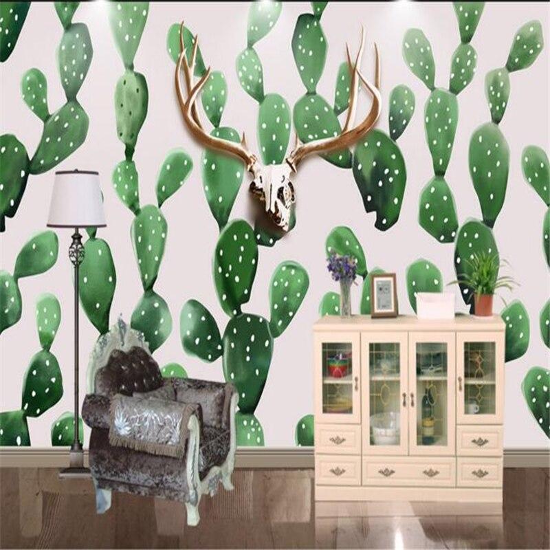 Beibehang hand painted scandinavian style deer cactus for Decoration cost per m2