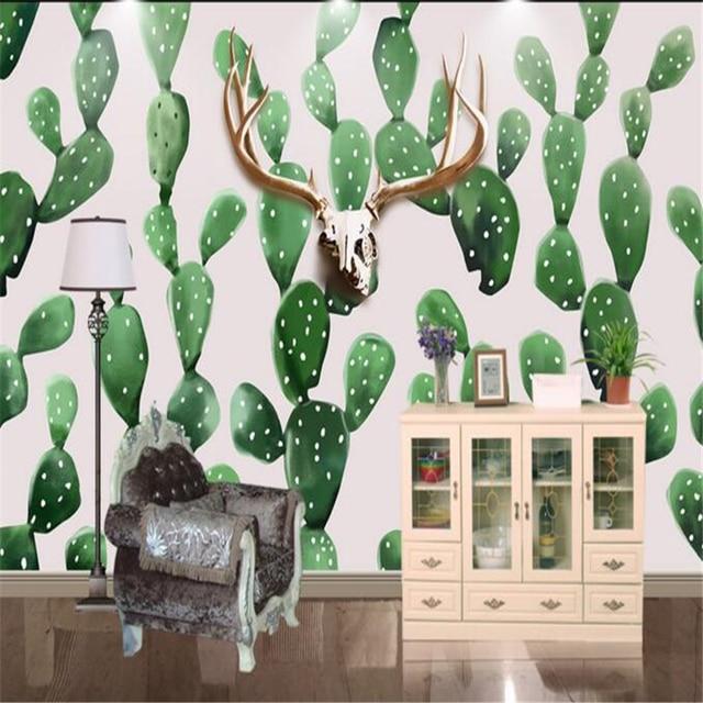 Beibehang hand painted scandinavian style deer cactus photo mural wallpaper home decoration - Vinilos decorativos aki ...
