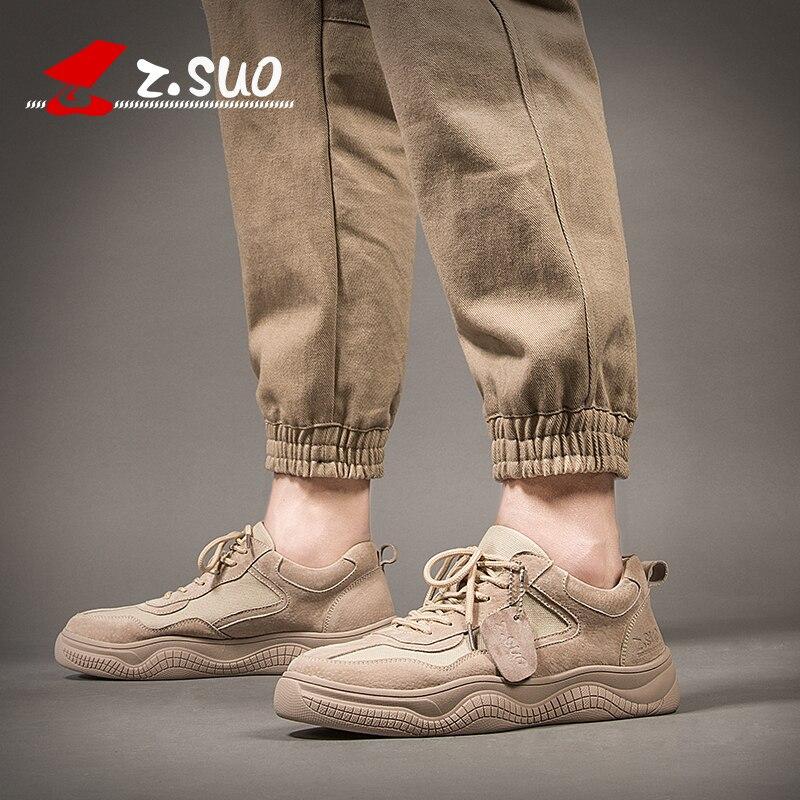 ZSUO marca de cuero Natural de alta calidad + zapatos casuales de lona hombres altura creciente 4 CM zapatillas de moda para hombre al aire libre zapatos-in Zapatos informales de hombre from zapatos    3