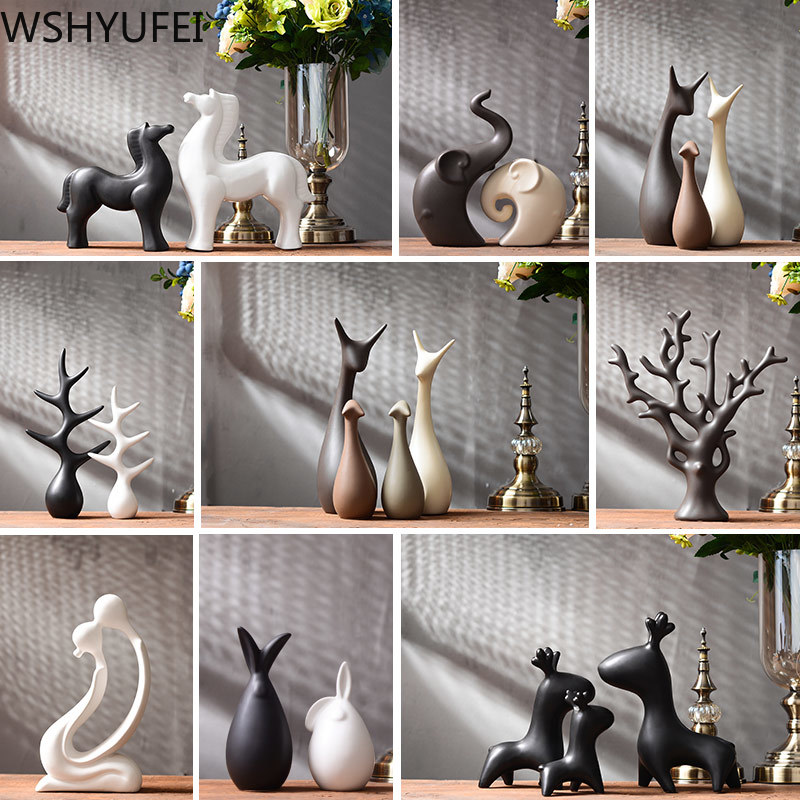 Simple Modern Ceramic Figurines Livingroom Ornament Home Furnishing Decoration Crafts Office Coffee Accessories Wedding Gift|Figurines & Miniatures|   - AliExpress
