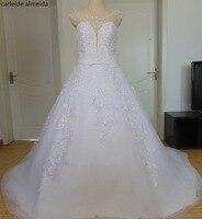 Vestido de Noiva Nặng Bead Vạt Áo Bóng Gown Wedding Dresses Ren Appliques Váy Wedding Gowns