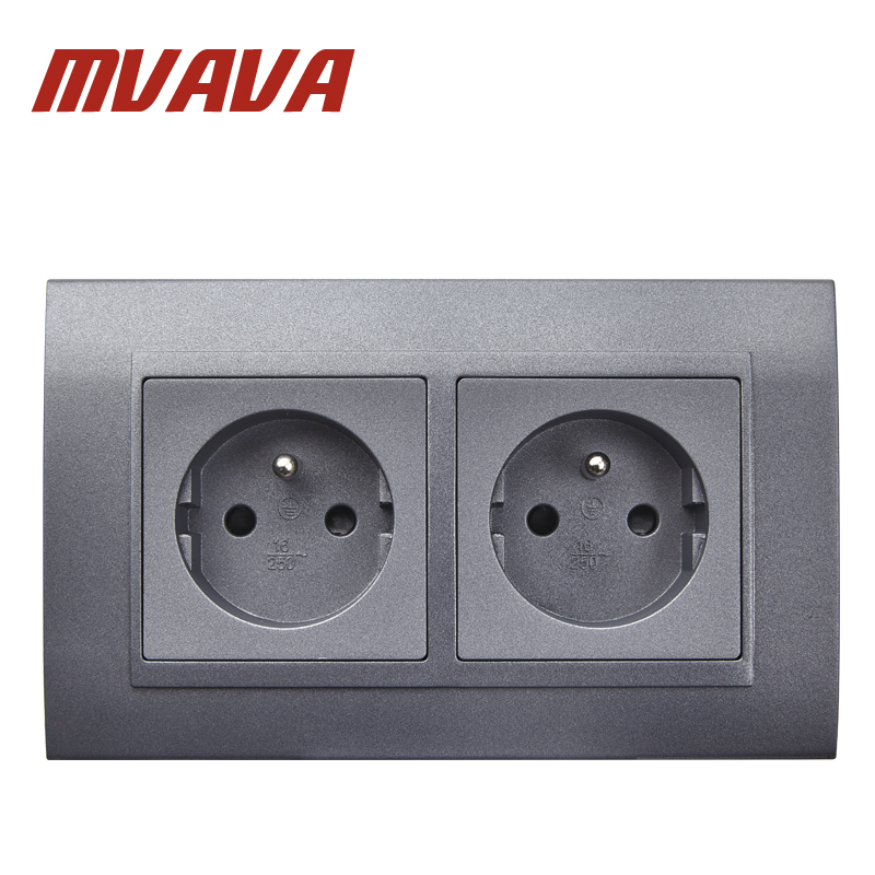MVAVA Wall French Power Socket Black PC Panel AC250V Wall Power Smart Outlet Wall Socket 16A Double FR Standard Socket Free Ship universal three inserted multifunctional tabletop french socket with rj45 black silver free shipping