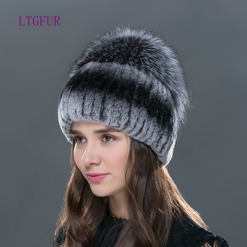 LTG FUR 2017 new fashion women winter hat for with fox fur top female elastic knitted